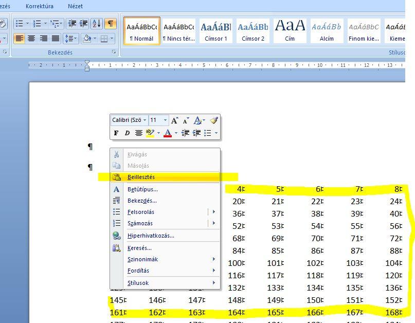 Excel táblázat Wordbe másolása