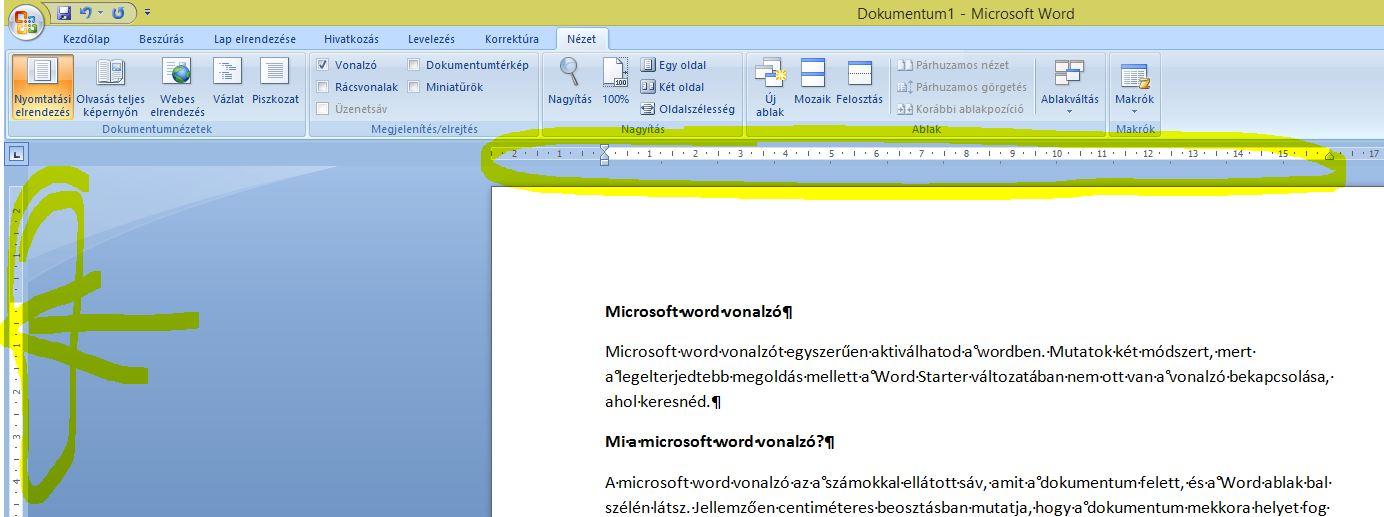 Microsoft Word vonalzó kinézete