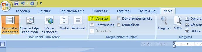 Microsoft Word vonalzó bekapcsolása