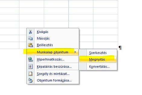 Wordbe Excel táblázat beszúrása